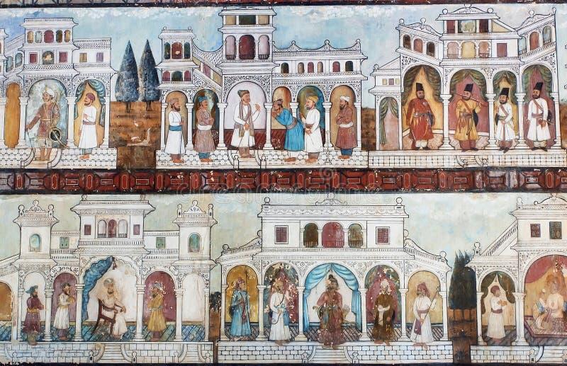 Sułtanu życie na ściennych frescoes sławny Daria Daulat pałac zdjęcie stock