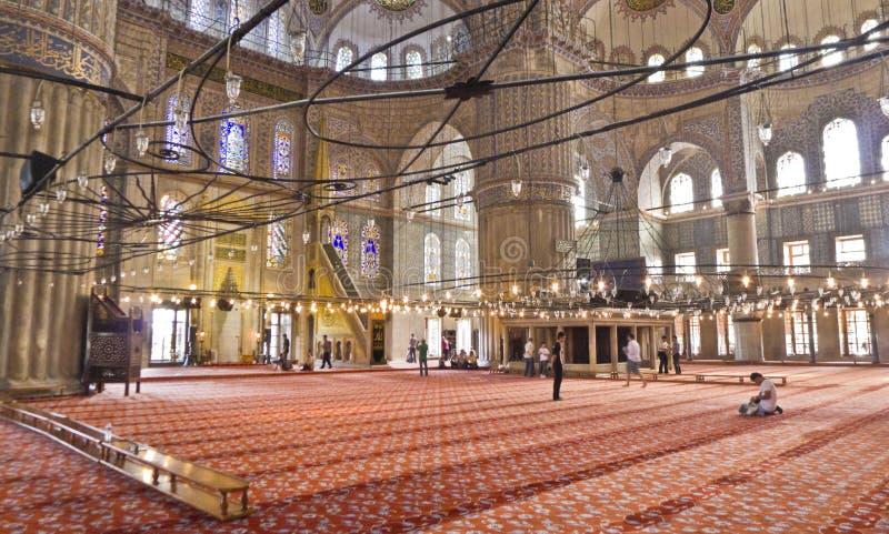Sułtanu Ahmed Meczetowy wnętrze (Błękitny) fotografia royalty free