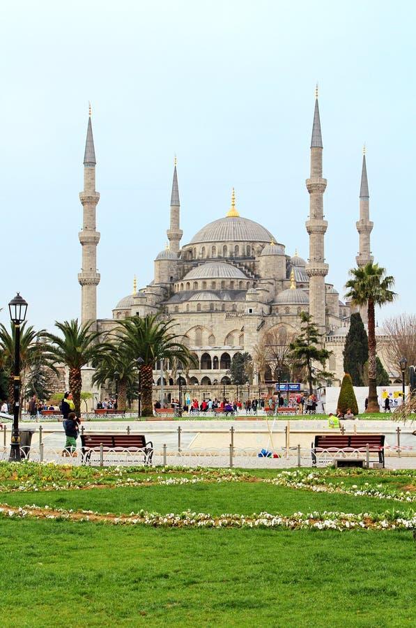 Sułtanu Ahmed turyści w Istanbuł i meczet, Turcja fotografia royalty free