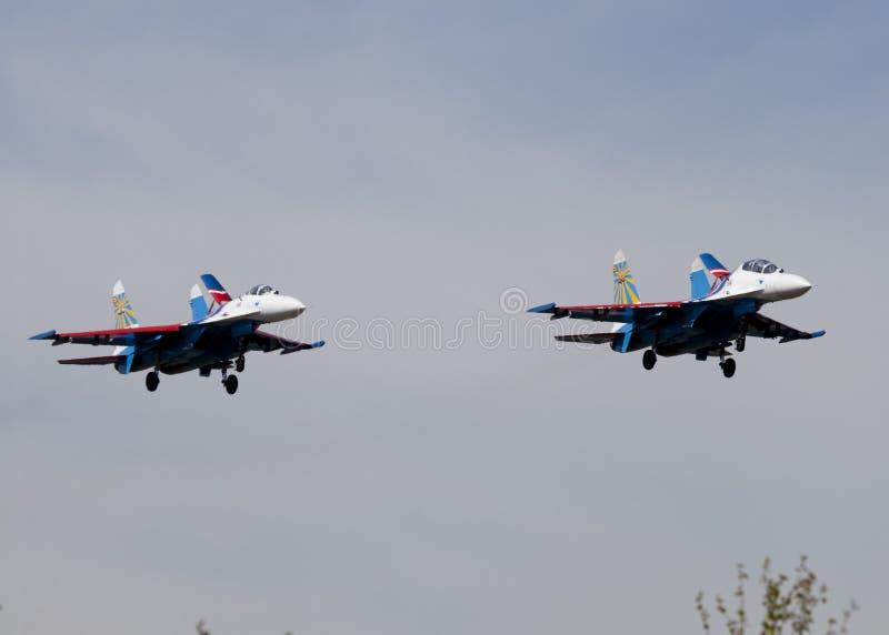 Su27特技队俄国人的飞机授以爵位 库存图片