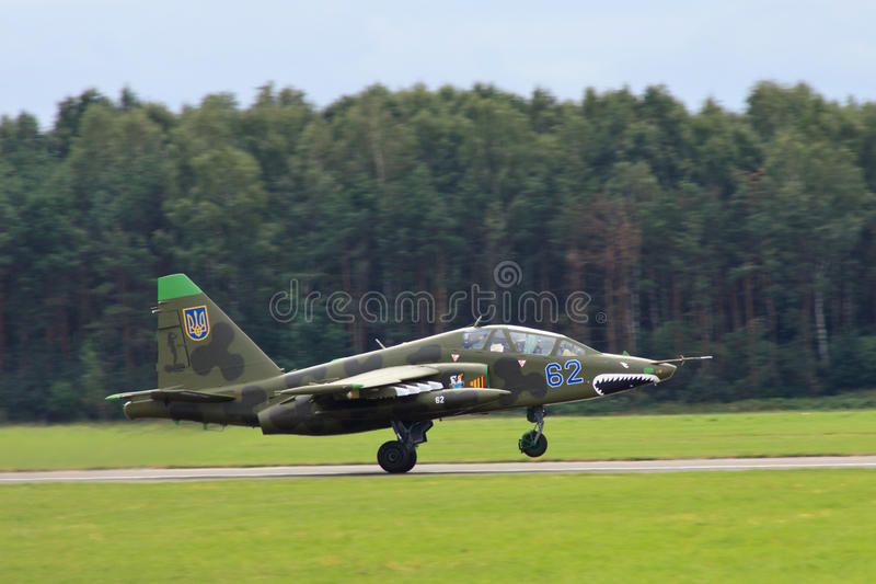 Su-25. Soviet jet plane Sukhoi Su-25 Frogfoot from Ukrainian Air Force at International Air Force, Radom (Poland). August 28th 2011 stock image