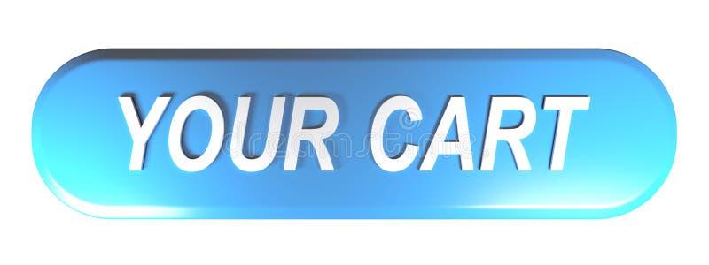 SU botón azul del CARRO - representación 3D stock de ilustración