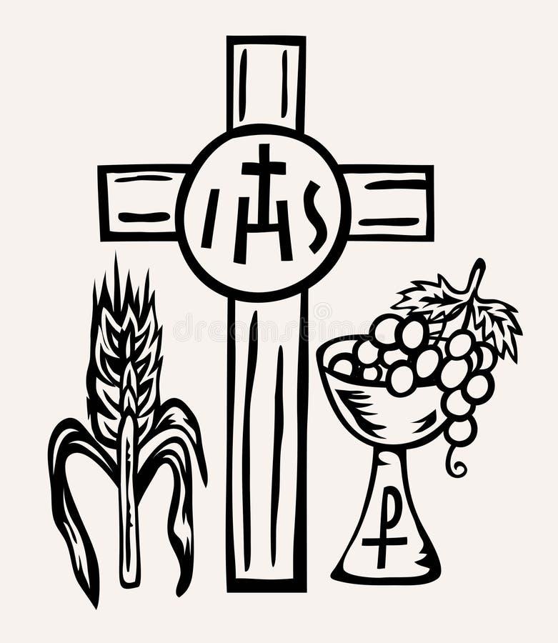 SU cuerpo del símbolo y sangre de Jesus Christ stock de ilustración