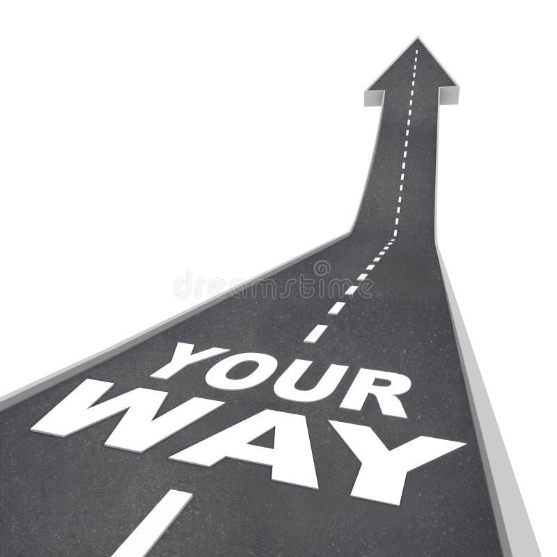 Su dirección de la flecha del camino de la manera que se mueve adelante stock de ilustración