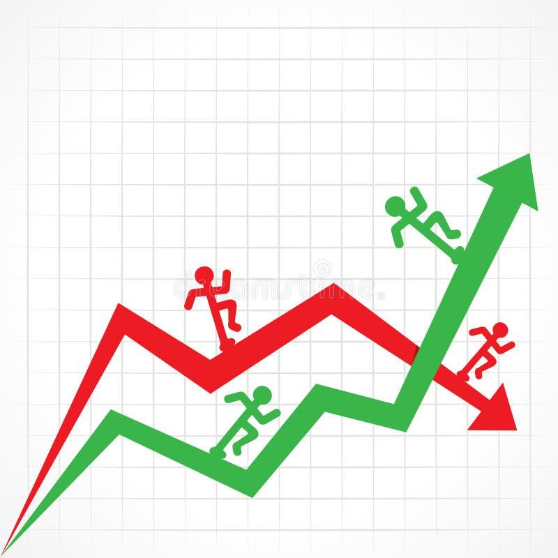 Su e giù il grafico commerciale con l'uomo corrente illustrazione vettoriale