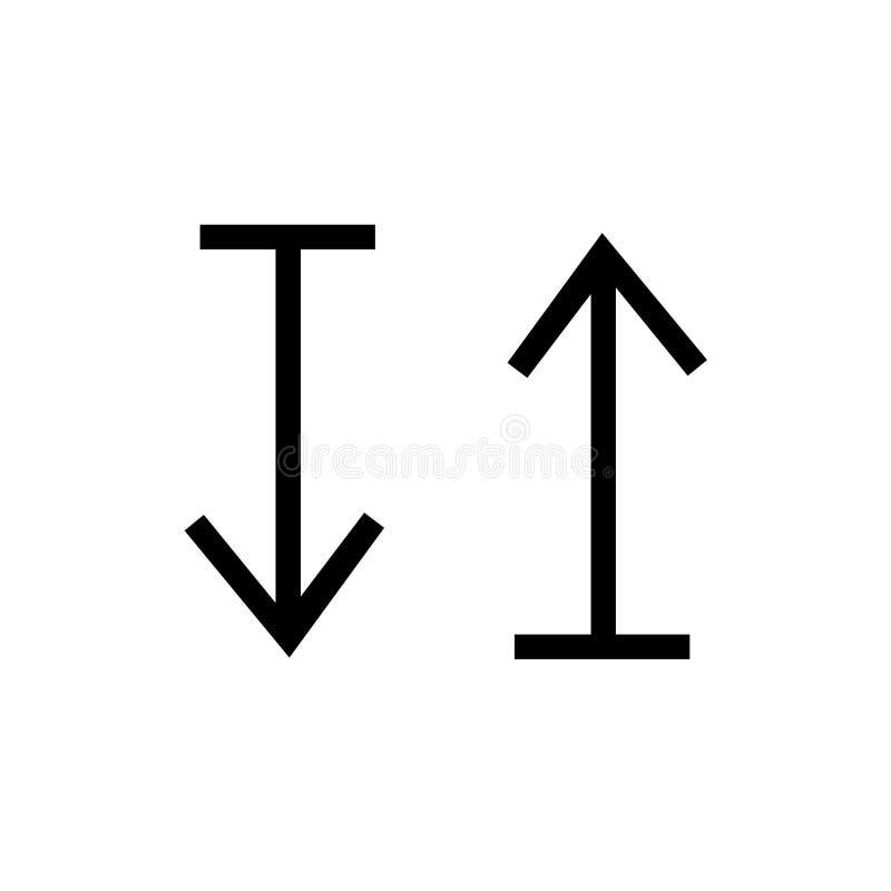 su e giù il segno ed il simbolo di vettore dell'icona della freccia isolati su fondo bianco, su e giù il concetto di logo della f royalty illustrazione gratis
