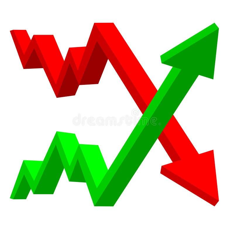 Su e giù le frecce finanziarie illustrazione vettoriale