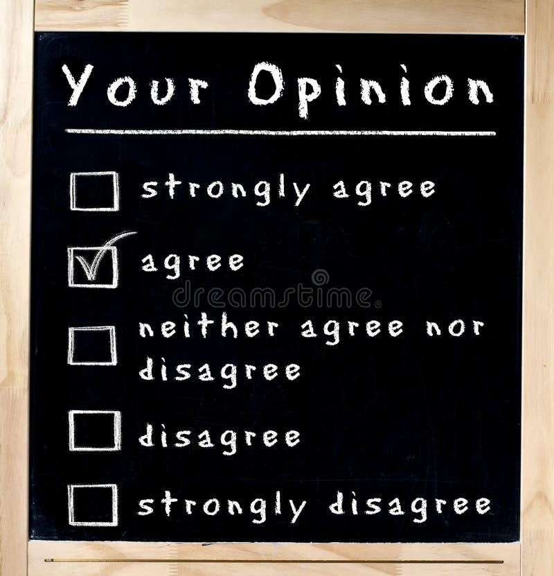 Su encuesta de opinión en la pizarra imagenes de archivo