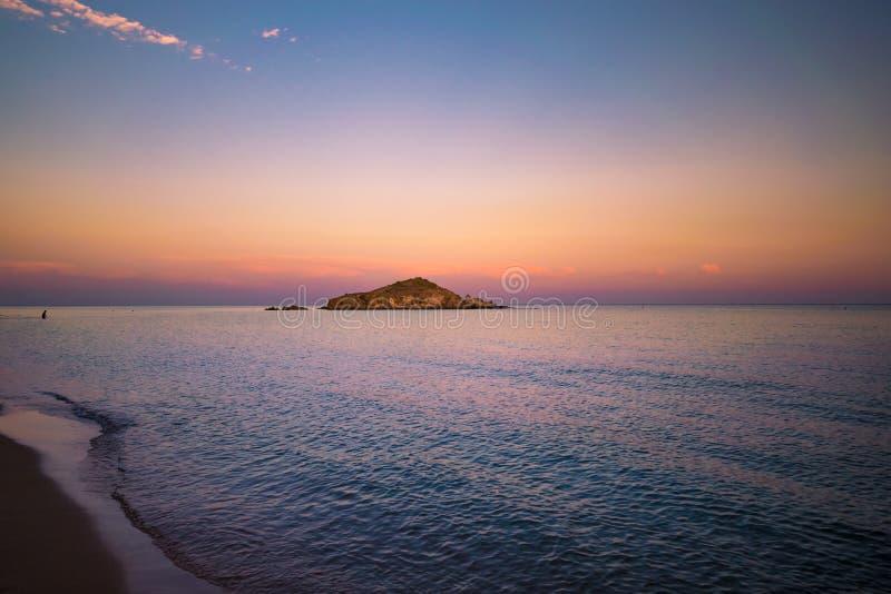 Su Giudeu island at sunset, Chia, Sardinia. Su Giudeu island at sunset, Chia, Sardinia, Italy stock image