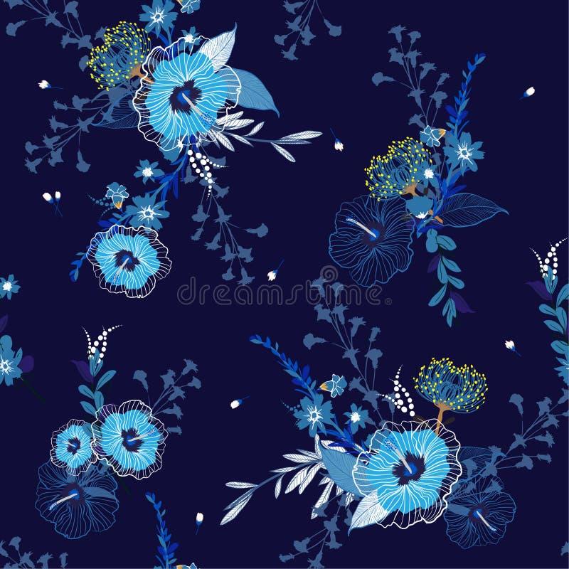 Su inconsútil azul monótono del estampado de flores del vector, brillante y fresco ilustración del vector