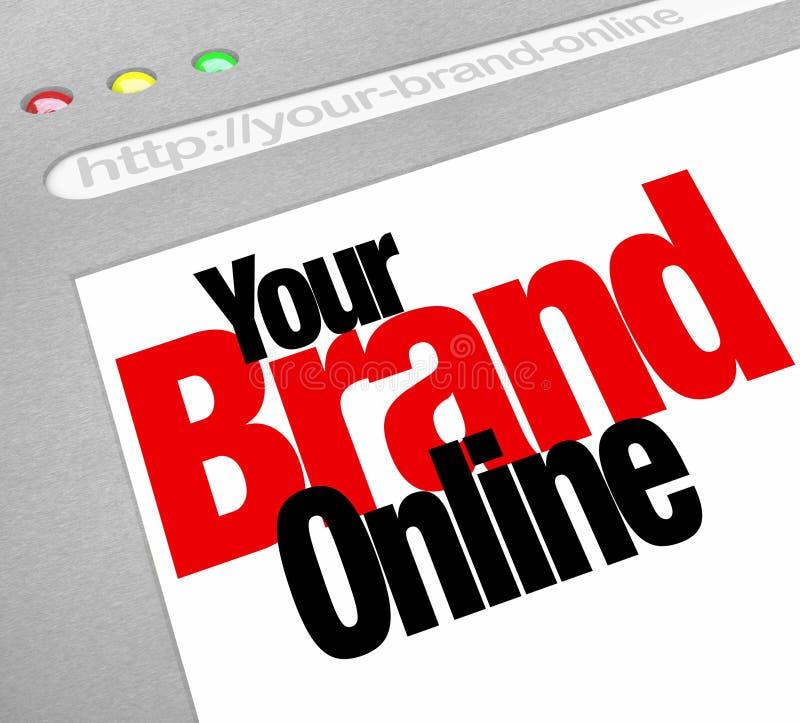 Su Internet en línea de la pantalla del Web site de las palabras de la marca stock de ilustración