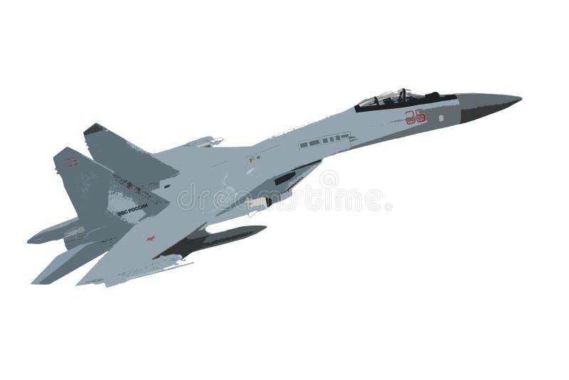 Su-35 isoleert de vechter, eenvoudige tekening, toepassing, vector illustratie