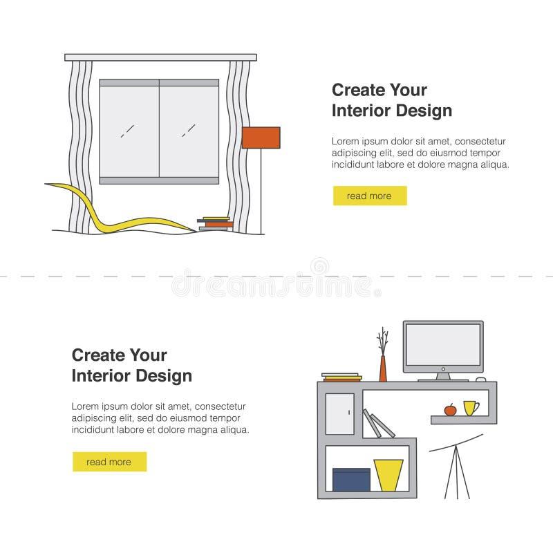 Su sistema de la bandera del web del diseño interior Plantilla casera moderna del diseño ilustración del vector