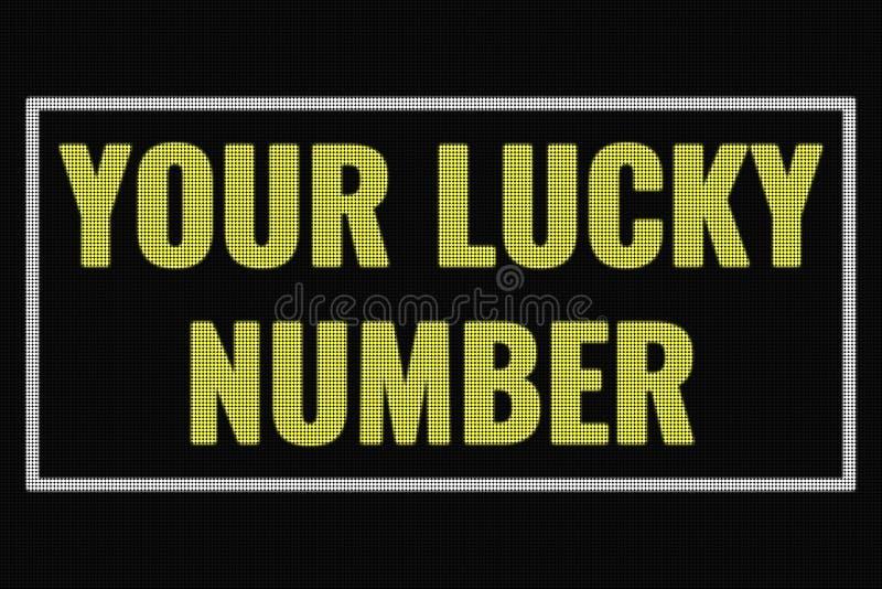 Su texto de Lucky Number en la pantalla oscura fotografía de archivo libre de regalías
