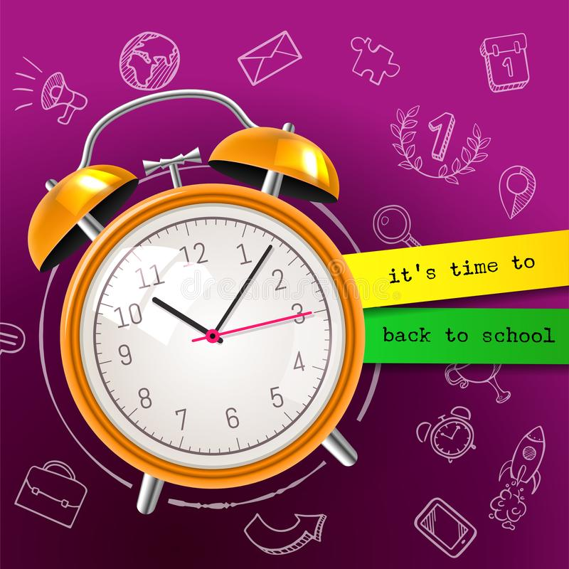 Su tiempo de nuevo al fondo de la venta de la escuela con el despertador y la pizarra, ejemplo Gran cartel para la escuela, depar libre illustration