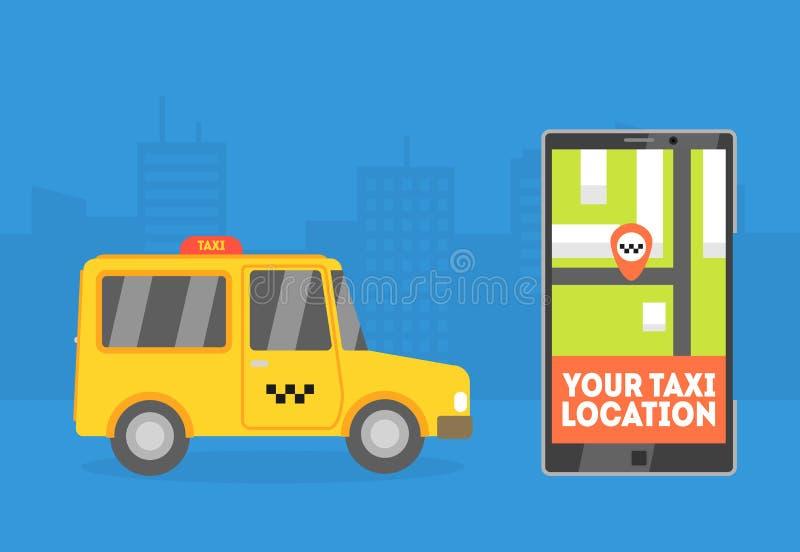 Su ubicación del taxi, bandera del taxi, ejemplo en línea del vector del servicio del taxi del orden de la aplicación móvil libre illustration