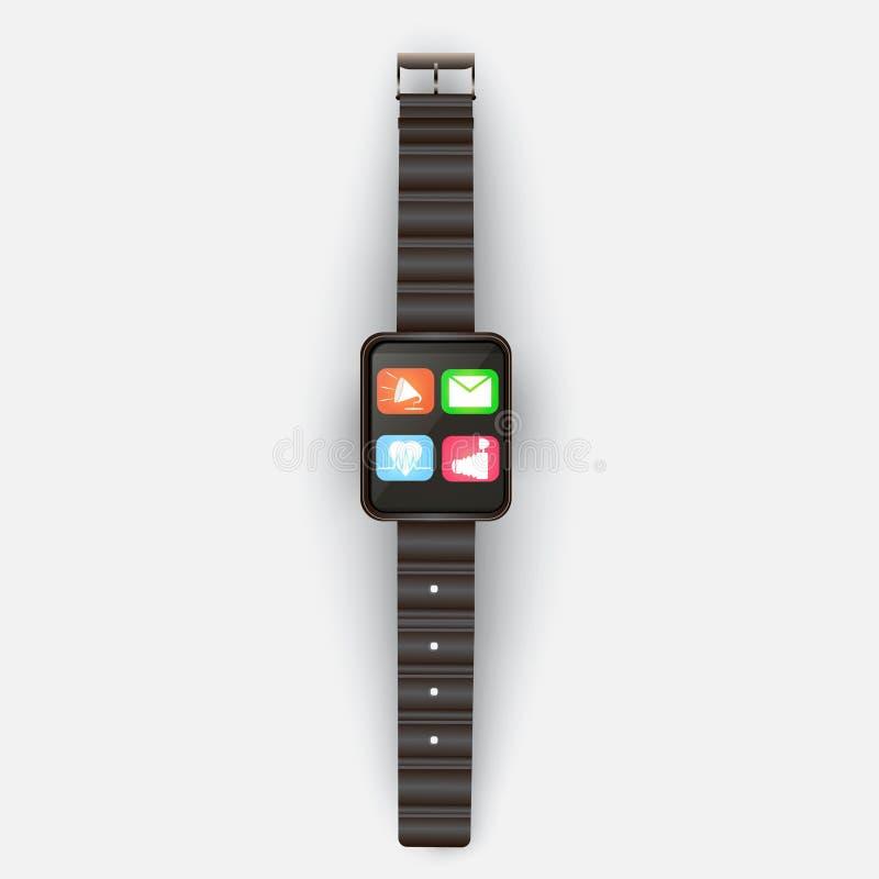 Su un fondo grigio chiaro mostra l'orologio astuto con le icone e illustrazione vettoriale