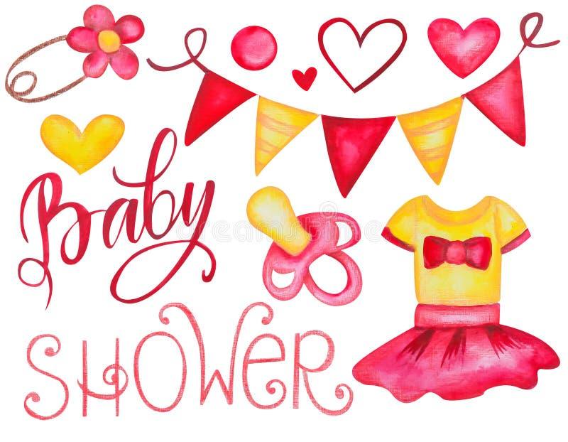 Su un sistema de la fiesta de bienvenida al bebé de la muchacha de elementos exhaustos de diverso rosa y de la mano amarilla de l ilustración del vector