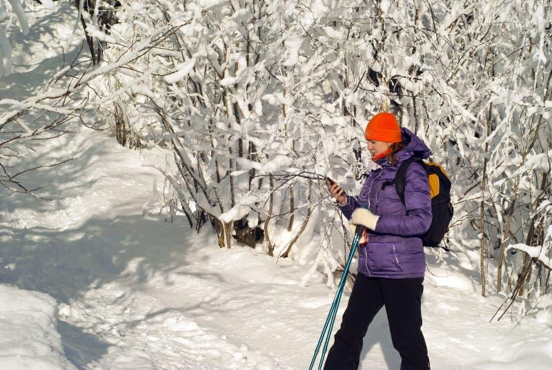 Su una passeggiata di inverno nella comunicazione fotografia stock