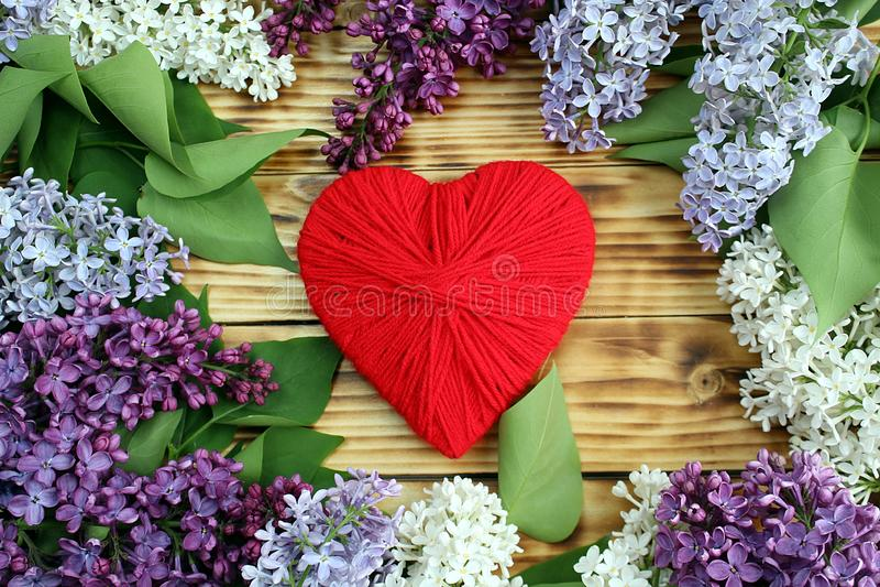 Su una tavola di legno sono parecchi rami del lillà e nel mezzo un cuore rosso immagini stock libere da diritti