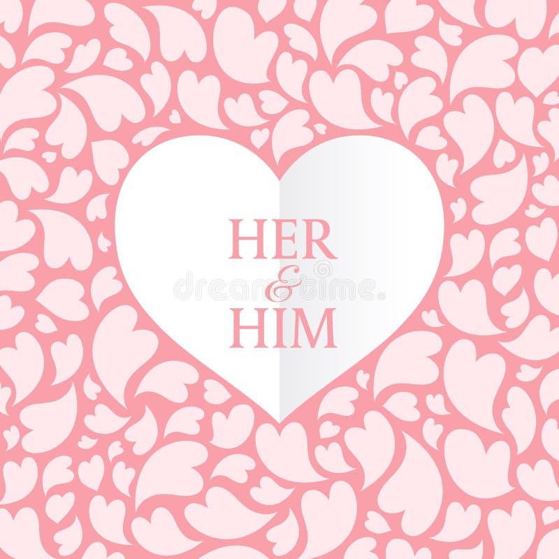Su y él el texto en el corazón blanco y el arte rosado del vector del fondo del extracto del corazón diseña para el día del ` s d stock de ilustración
