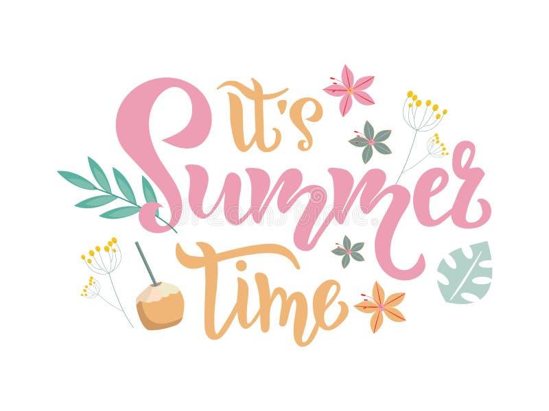Sua inscrição da estação das horas de verão, rotulando o texto com elementos tropicais r ilustração royalty free