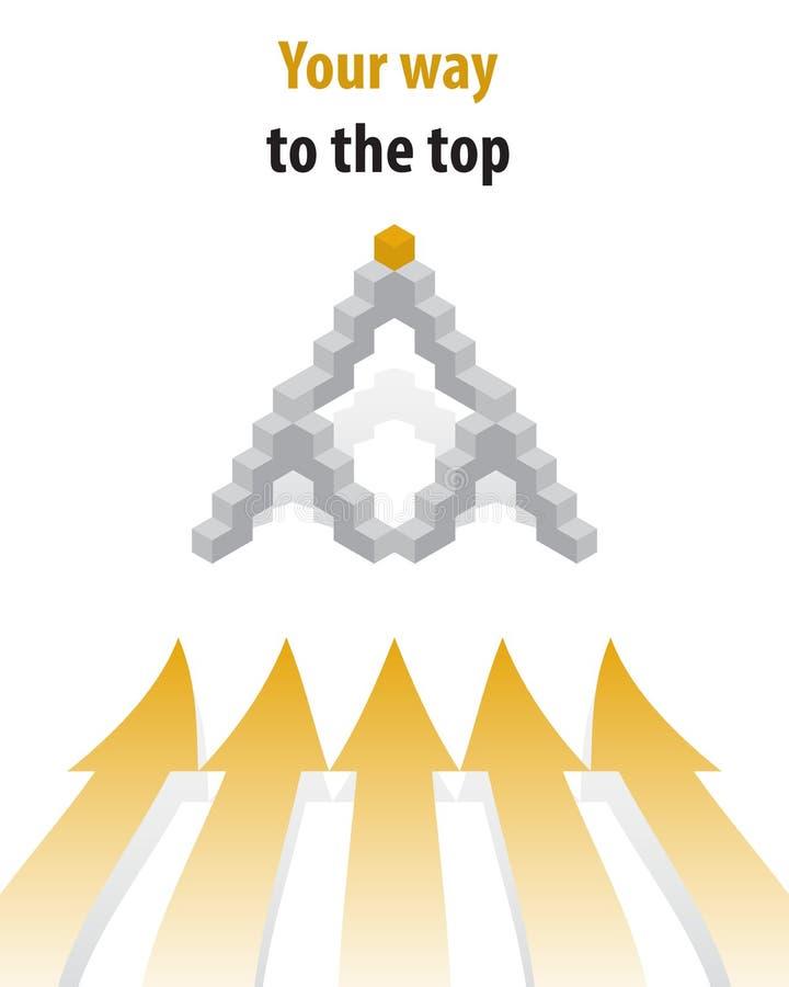 Sua maneira à parte superior Etapas de cubos cinzentos, a forma do pyrami ilustração do vetor