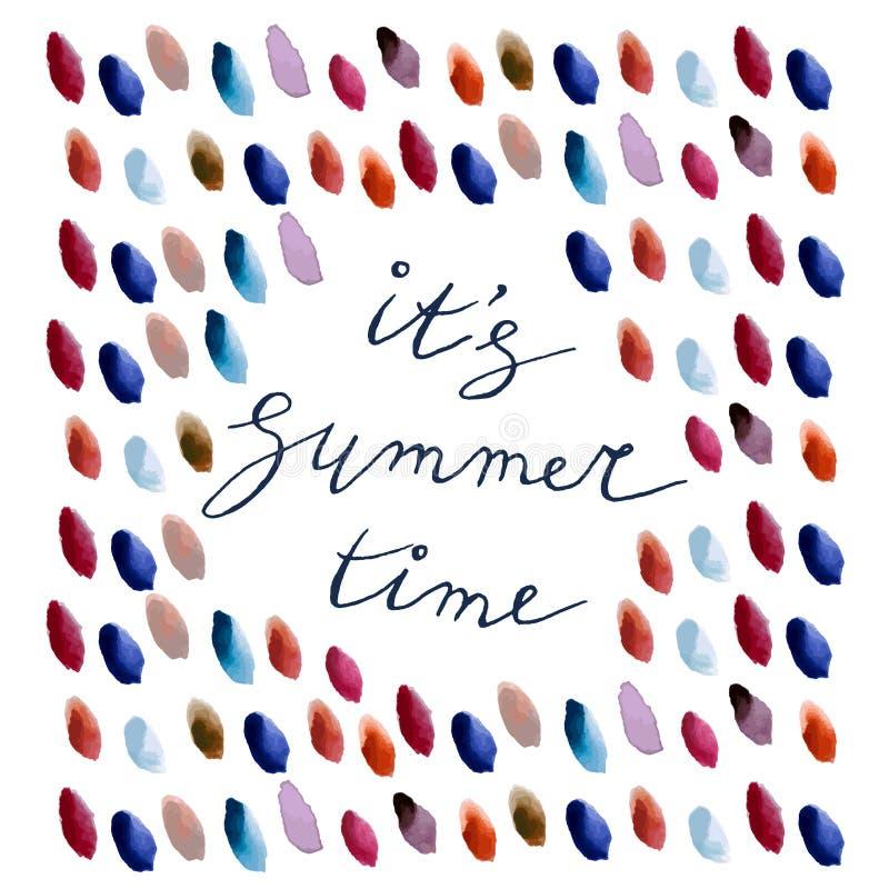 Sua rotulação das horas de verão com gotas da aquarela ilustração stock