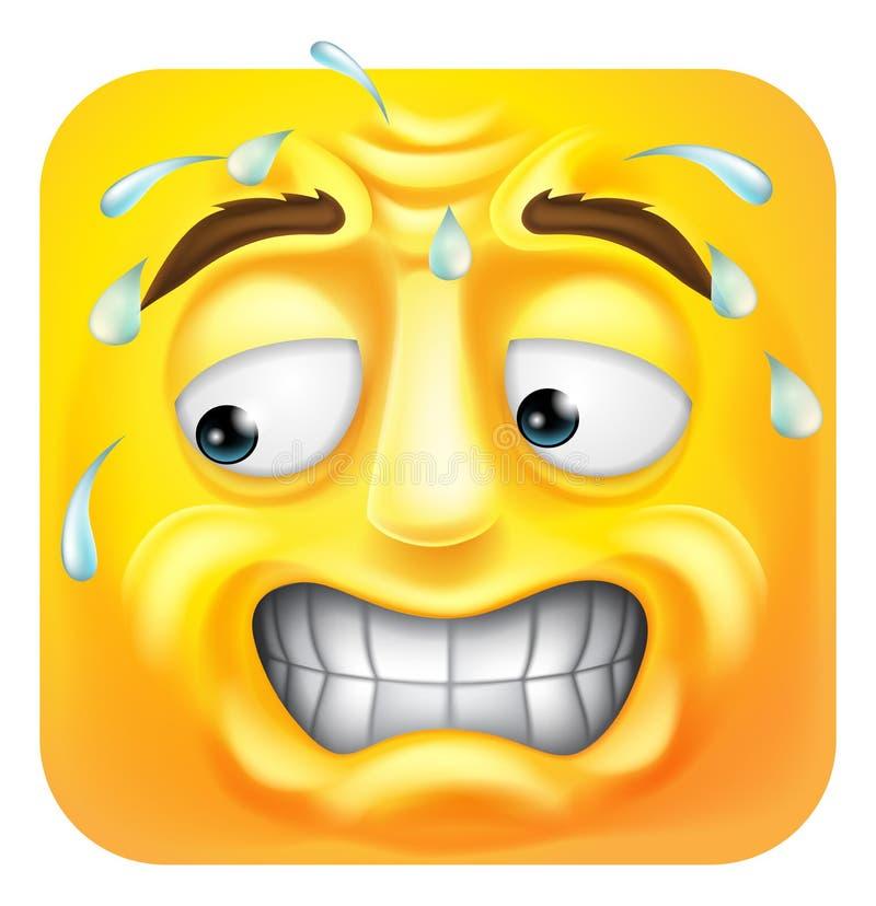 Suando desenhos animados preocupados do ícone do Emoticon de Emoji ilustração do vetor