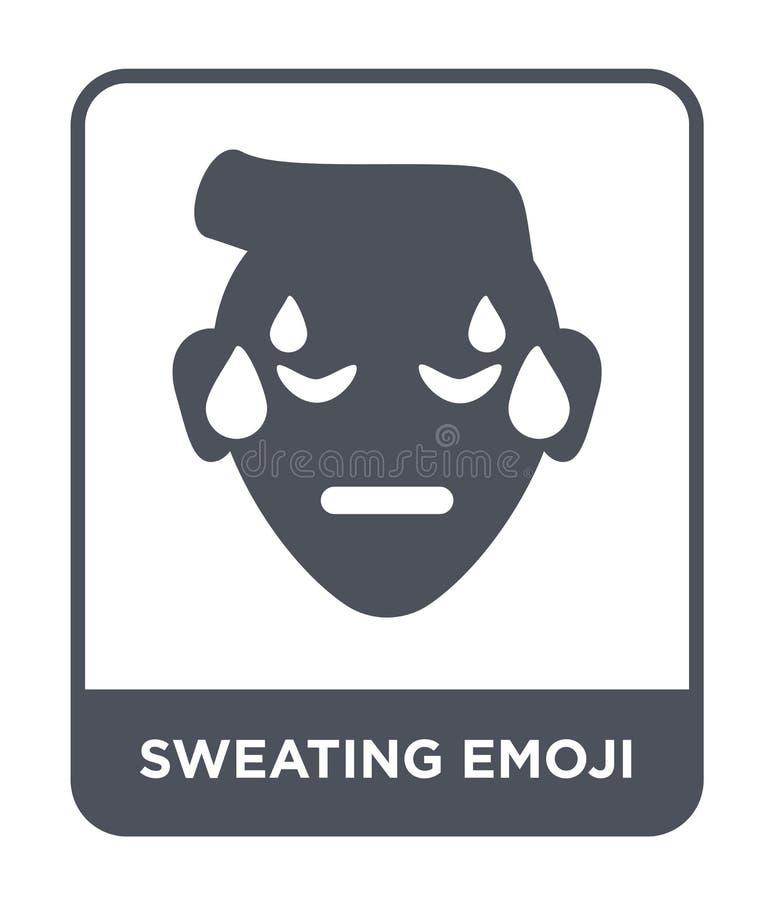 suando o ícone do emoji no estilo na moda do projeto suando o ícone do emoji isolado no fundo branco suando o ícone do vetor do e ilustração royalty free