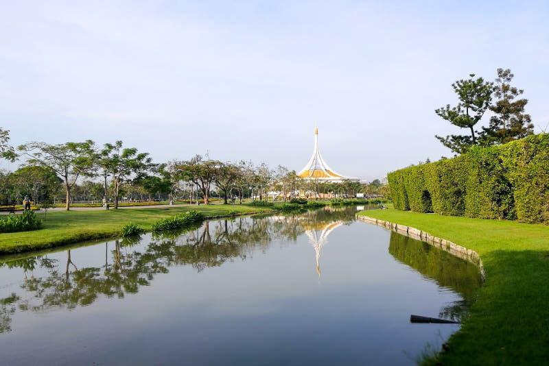 Suanluang RAMA IX park. Public townhall with skyline reflection, Bangkok, Thailand stock images