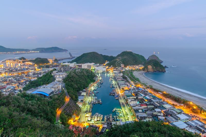 Aerial view of Suao Harbor in Yilan, Taiwan stock photos