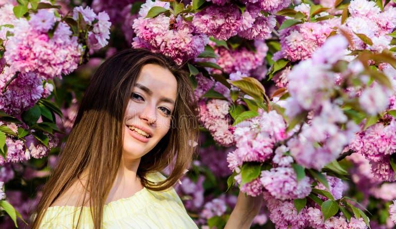 Suave y blando Flor magn?fica y belleza femenina mujer en la floraci?n de la flor de la primavera Cosm?ticos naturales para la pi imagen de archivo libre de regalías