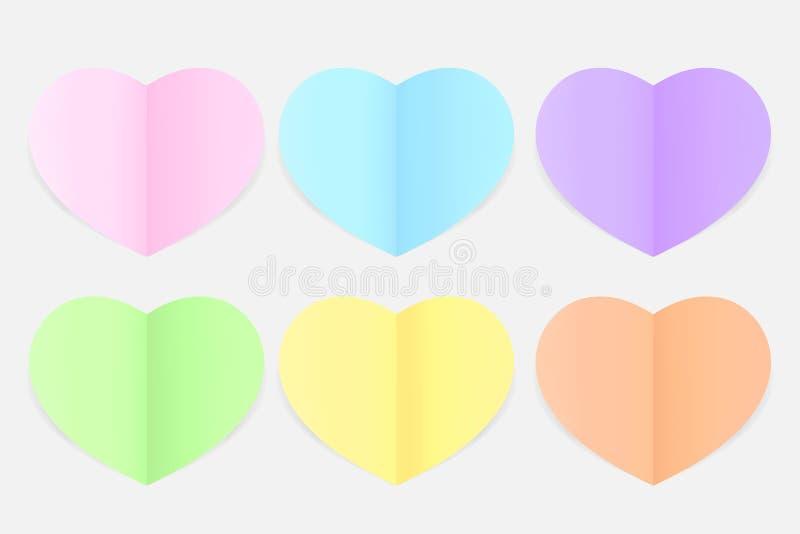 Suavidad en colores pastel colorida del papel en forma de corazón, estilo puesto plano del papel del multicolor de la forma del c libre illustration