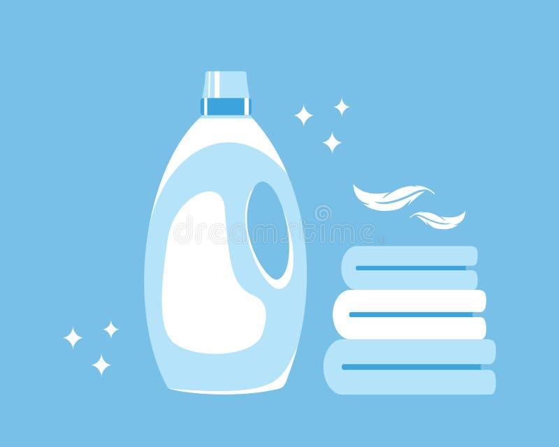 Suavizador de la tela Toalla limpia Limpieza y comodidad en la casa Ilustraci?n del vector stock de ilustración