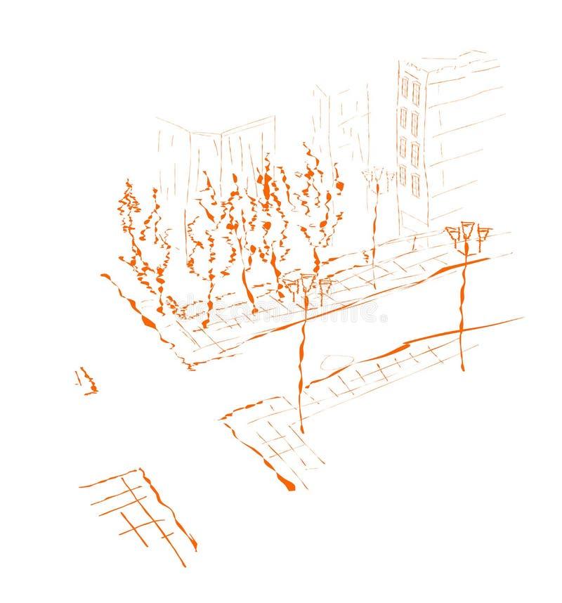 Subúrbio - desenho. ilustração stock