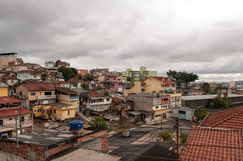 Subúrbio do precário de Sao Paulo imagem de stock royalty free