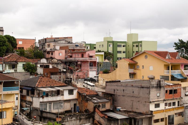 Subúrbio do precário de Sao Paulo foto de stock