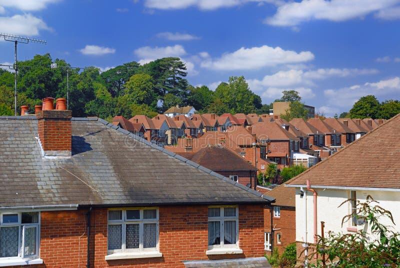 Subúrbio inglês do tijolo vermelho imagens de stock royalty free