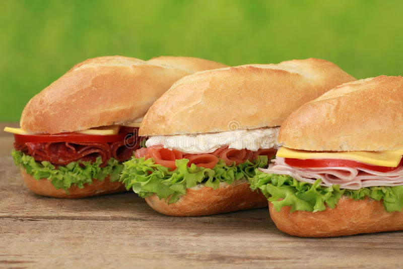 Sub сандвичи стоковое изображение