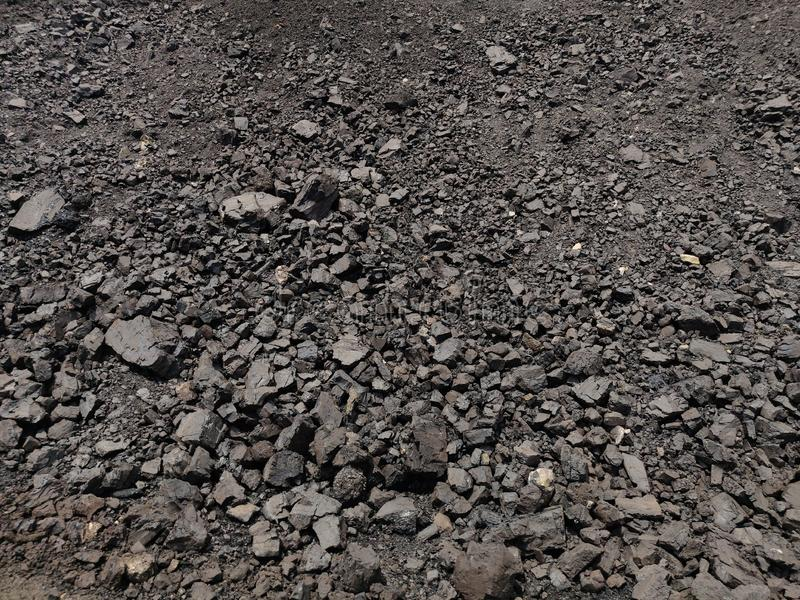 Sub Bituminous - Bituminous coal stockpile royalty free stock photo