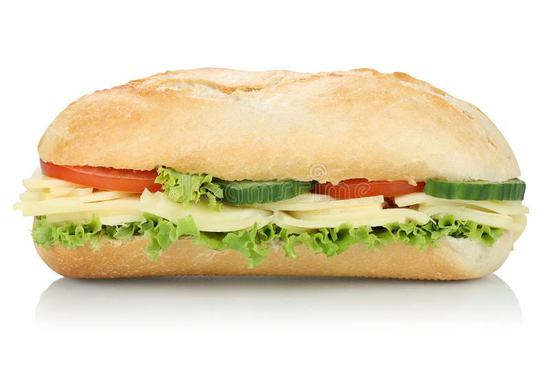 Sub deli sandwich baguette with cheese side view isolated. Sub deli sandwich baguette with cheese, tomatoes and lettuce side view isolated on a white background stock image