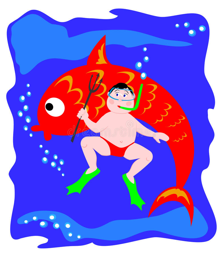 Sub and fish. This illustration is a sub under water, armed with a spear. Behind him we see a very big fish