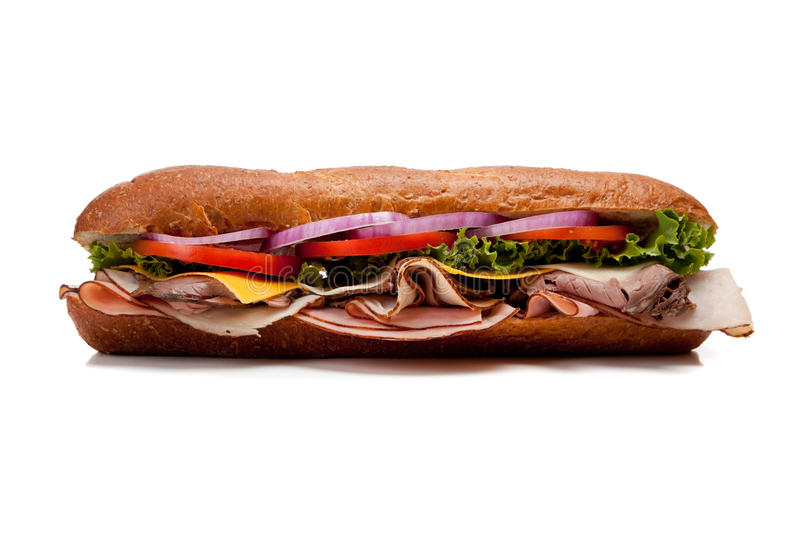 A sub sandwich on a white background royalty free stock photography