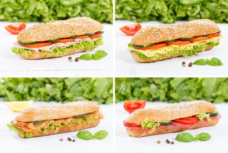 Sub sandwiches collage whole grain with ham cheese salami fish o. N wooden board wood stock images