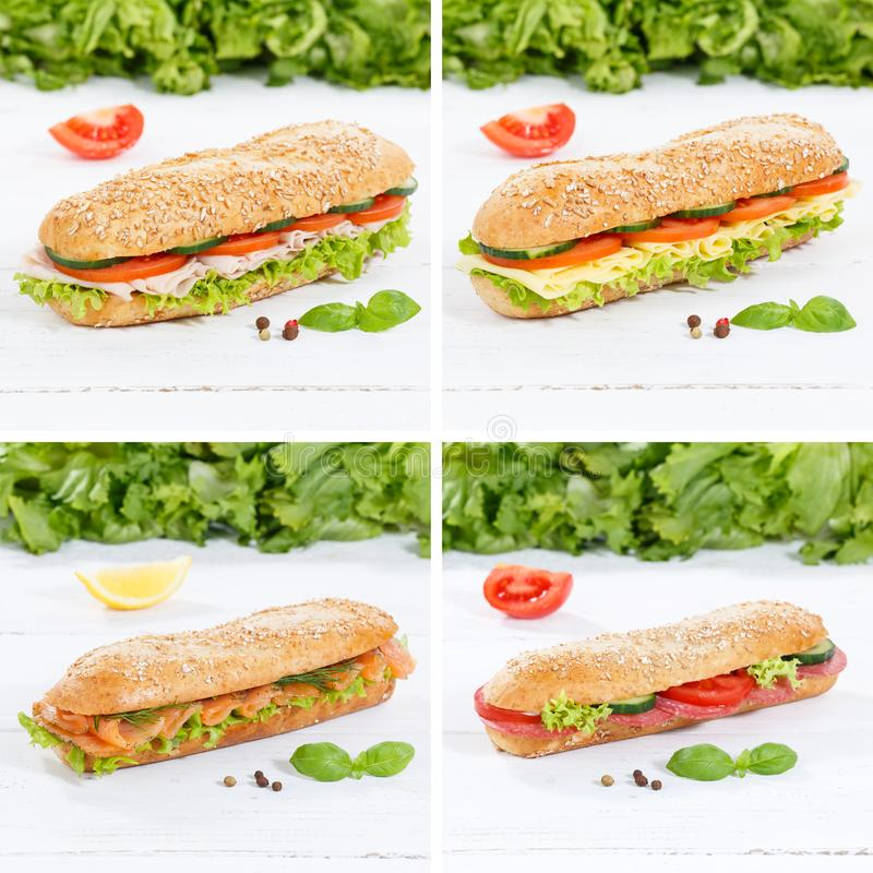 Sub sandwiches collage whole grain with ham cheese salami fish s. Quare on wooden board wood stock photo