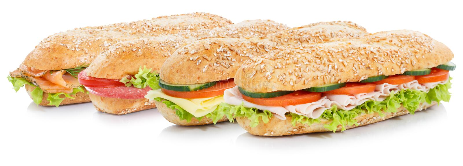 Sub sandwiches with salami ham cheese salmon fish whole grains i. Solated on a white background royalty free stock photos