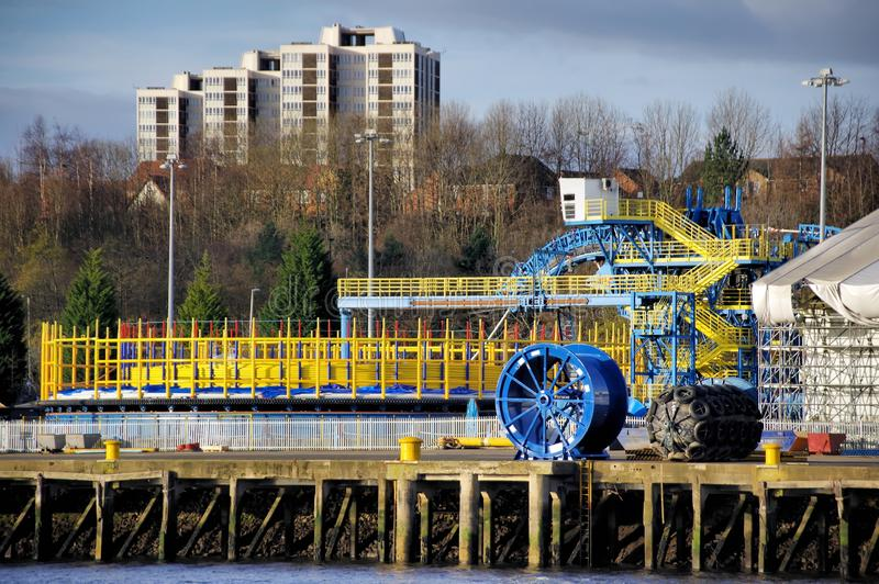 Sub Sea Cable Manufacture on the River Tyne. A giant cable manufacturing rig on the banks of the river Tyne. Used spool submarine telecommunication and power stock photo