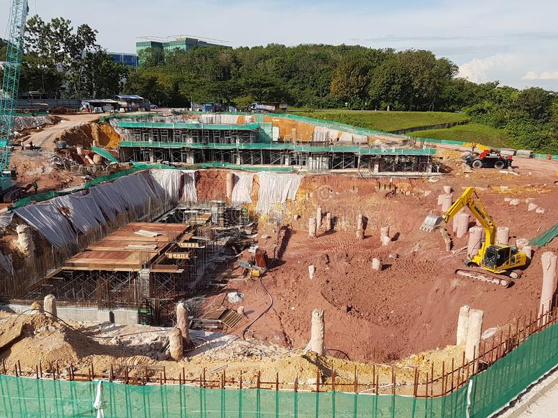 Sub-structure foundation works at the construction site. royalty free stock images