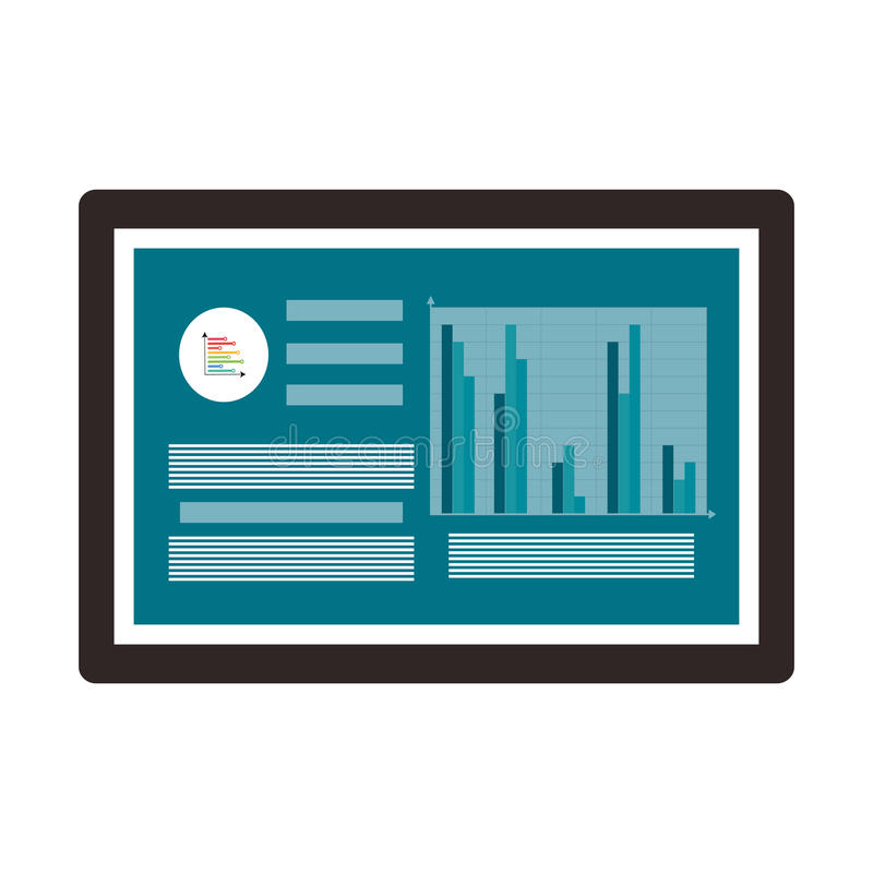 suba con los datos y el gráfico de barra, ejemplo del vector libre illustration